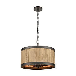 Steel Wooden Barrel 6-Light Chandelier, Bronze/Natural Finish, large