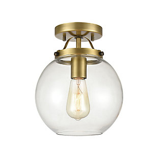 Steel Bernice Semi-Flush Pendant Light, Antique Brass Finish, rollover