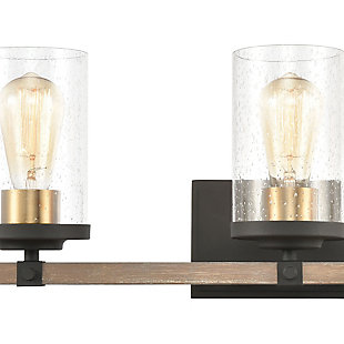 Steel Geringer 4-Light Vanity Light, Beechwood/Charcoal Finish, rollover