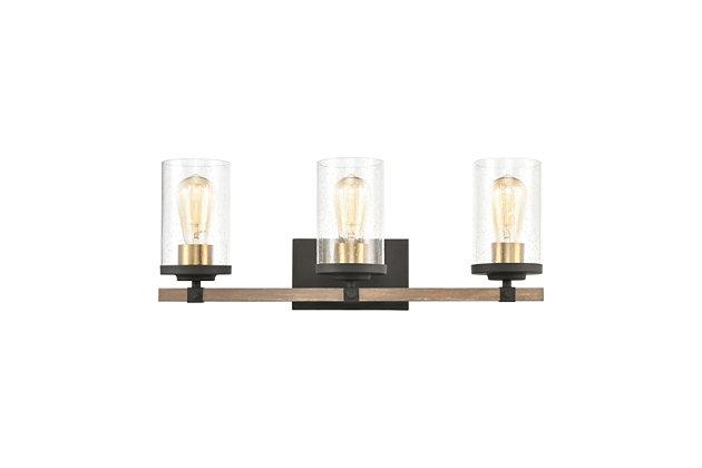 Steel Geringer 4-Light Vanity Light, Beechwood/Charcoal Finish, large