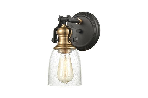 Steel Chadwick 4-Light Vanity Light, Bronze/Brass Finish, large