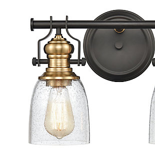 Steel Chadwick 2-Light Vanity Light, Bronze/Brass Finish, rollover