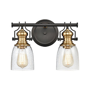 Steel Chadwick 2-Light Vanity Light, Bronze/Brass Finish, large