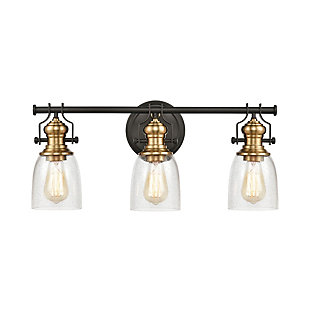 Steel Chadwick 3-Light Vanity Light, Bronze/Brass Finish, large