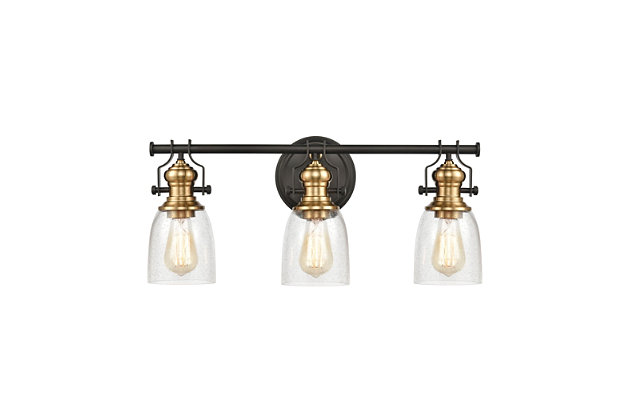 Steel Chadwick 3-Light Vanity Light, Bronze/Brass Finish, large