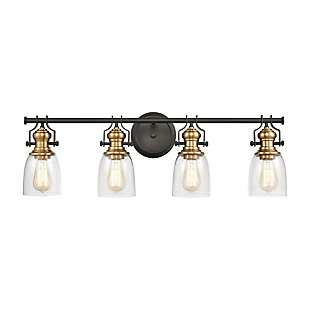 Steel Chadwick 4-Light Vanity Light, Bronze/Brass Finish, large