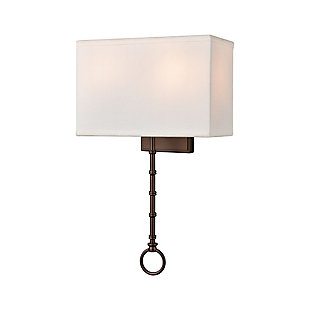 Two-Light Shannon Sconce, Bronze Finish/White, large