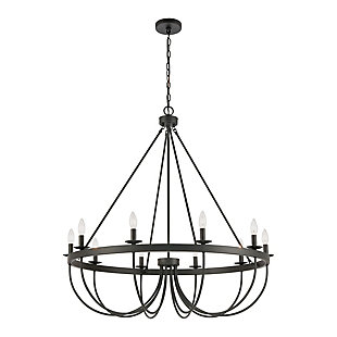 Steel Williamson 10-Light Chandelier, , rollover
