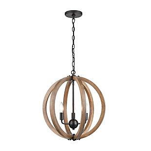 Solid Wood Barrow 3-Light Chandelier, , large