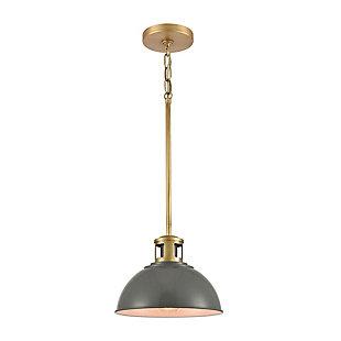 Steel Lyndon Mini Pendant, Brass Finish/Gray, rollover
