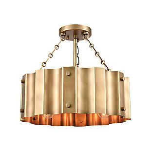 Steel Clausten Semi-Flush Pendant Light, Brass Finish, rollover