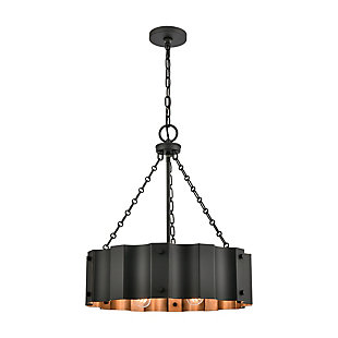 Steel Clausten 4-Light Chandelier, Black/Gold Finish, large