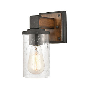 Steel Crenshaw Vanity Light, Natural/Black Finish, large