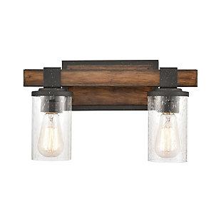 Steel Crenshaw Vanity Light, Natural/Black Finish, large