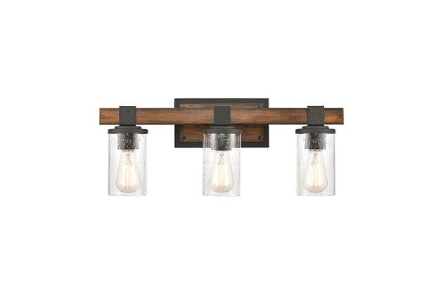 Steel Crenshaw 3-Light Vanity Light, Natural/Black Finish, large