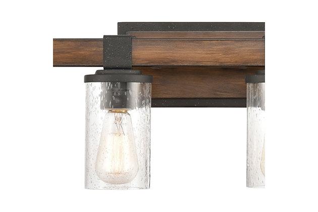 Steel Crenshaw 4-Light Vanity Light, Natural/Black Finish, large