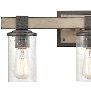 Steel Crenshaw 3-Light Vanity Light, Graywood Finish, rollover