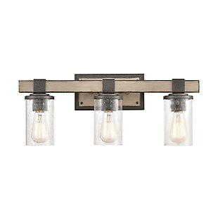 Steel Crenshaw 3-Light Vanity Light, Graywood Finish, large