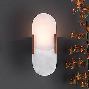 Alabaster Delphi Wall Sconce, Antique Brass Finish, large