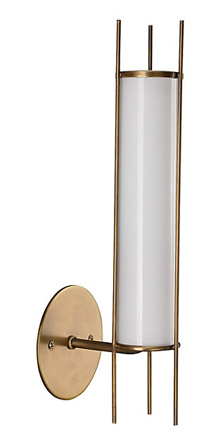 Steel Italo Cylindrical Wall Sconce, Antique Brass Finish, large