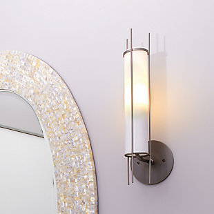 Steel Italo Cylindrical Wall Sconce, Gunmetal Finish, rollover
