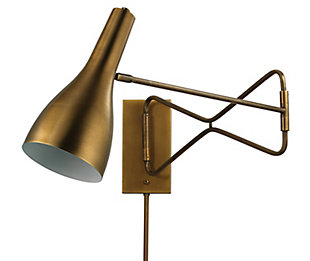 Steel Lenz Swing Arm Wall Sconce, Antique Brass Finish, large