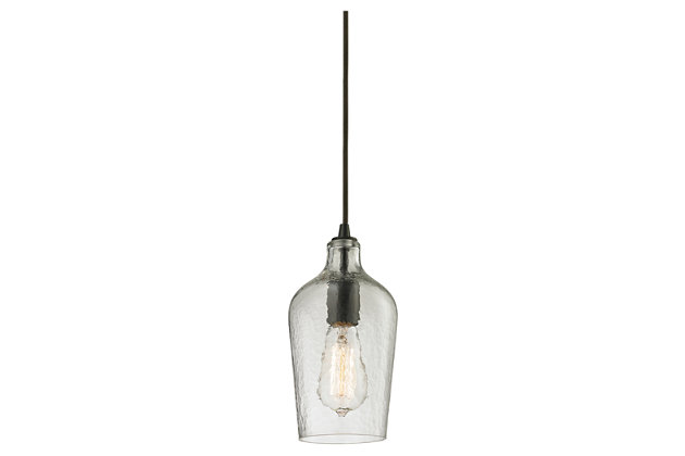 ELK Hammered Glass One Light Pendant, , large