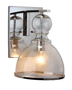Iron Large St. Charles Wall Sconce, Polished Nickel Finish, rollover