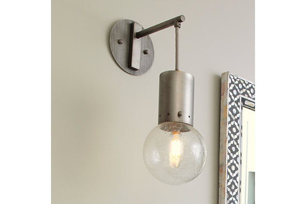 Steel Strada Pendant Sconce, Gunmetal Finish, large