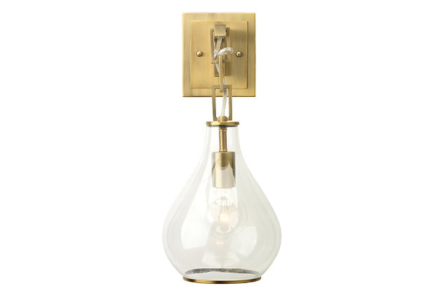 Iron Tear Drop Hanging Wall Sconce, Antique Brass Finish, large