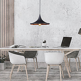 A Touch of Design A Touch of Design 1-Light Pendant, Matte Black with Copper Color Interior, , rollover