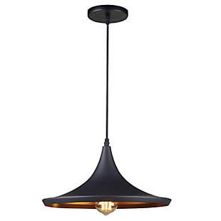 A Touch of Design A Touch of Design 1-Light Pendant, Matte Black with Copper Color Interior, , large