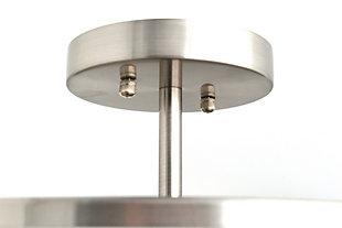 A Touch of Design Delia 3-Light Drum Shade Semi Flush Mount, Satin Nickel, , rollover