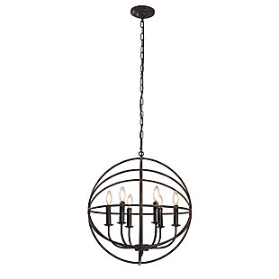 A Touch of Design A Touch of Design 6-Light Globe Chandelier, Black, , large