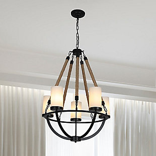A Touch of Design 5-Light Rope Chandelier, Black, , rollover