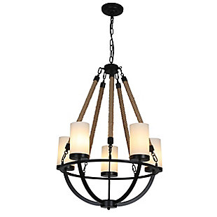 A Touch of Design 5-Light Rope Chandelier, Black, , large