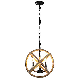 A Touch of Design 3-Light Rope Orb Chandelier, , large