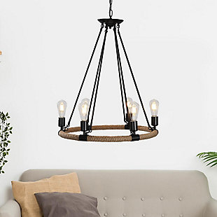 A Touch of Design A Touch of Design 6-Light Wagon Wheel Rope Chandelier, , rollover