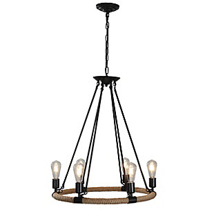 A Touch of Design 6-Light Wagon Wheel Rope Chandelier, , large