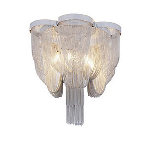 A Touch of Design A Touch of Design 6-Light Draped Chain Chandelier, Silver, , large
