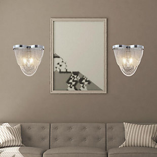A Touch of Design 2-Light Draped Chain Wall Sconce, Silver, , rollover