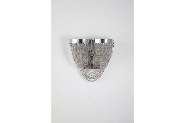 A Touch of Design 2-Light Draped Chain Wall Sconce, Silver, , large