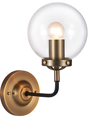 A Touch of Design 1-Light Glass Globe Dimmable Vanity Light, Black and Gold, , rollover
