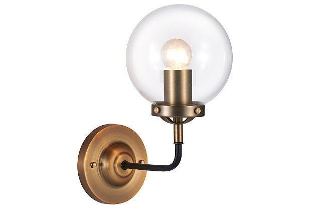 A Touch of Design 1-Light Glass Globe Dimmable Vanity Light, Black and Gold, , large