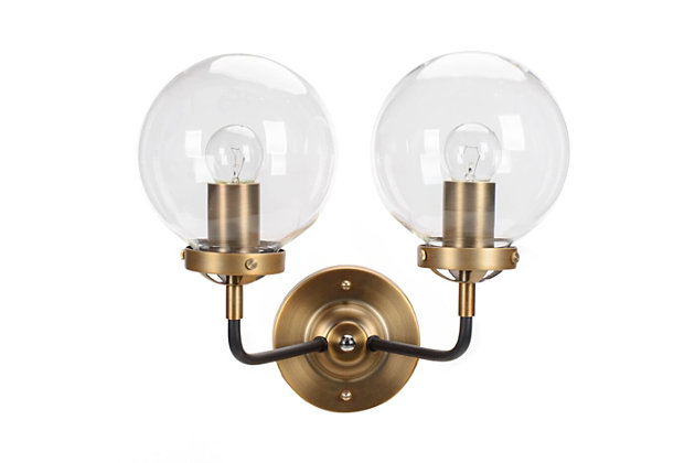 A Touch of Design 2-Light Glass Globe Dimmable Vanity Light, Black and Gold, , large