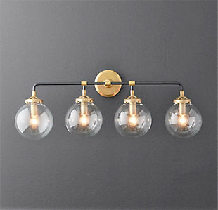 A Touch of Design 4-Light Glass Globe Dimmable Vanity Light, Black and Gold, , rollover