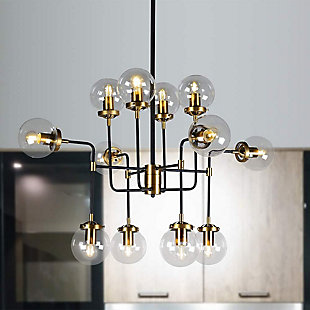 A Touch of Design 12-Light Glass Globe Industrial Modern Chandelier, Black and Gold, , rollover