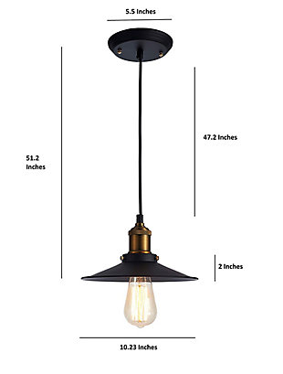 A Touch of Design A Touch of Design 1-Light Industrial Pendant, Matte Black, , rollover