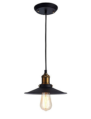 A Touch of Design A Touch of Design 1-Light Industrial Pendant, Matte Black, , large