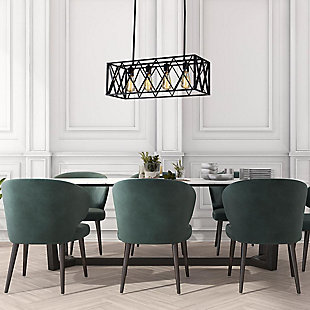 A Touch of Design 4-Light Cage-Style Hanging Chandelier, Black, , rollover